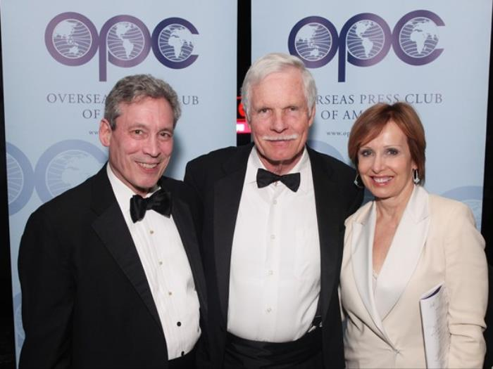 Allan with Ted Turner and Susan Lisovicz at the OPC Awards Dinner